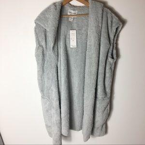 Sarina Lauren Gray Faux Fur Long Soft XL Cardigan